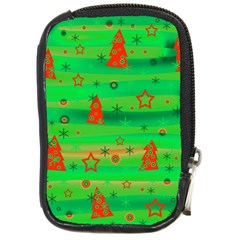 Green Xmas Magic Compact Camera Cases by Valentinaart