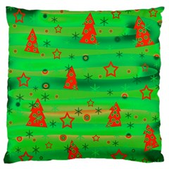 Green Xmas Magic Large Flano Cushion Case (one Side) by Valentinaart