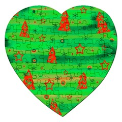 Xmas Magical Design Jigsaw Puzzle (heart) by Valentinaart
