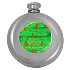 Xmas Magical Design Round Hip Flask (5 Oz) by Valentinaart