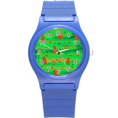 Xmas Magical Design Round Plastic Sport Watch (s) by Valentinaart