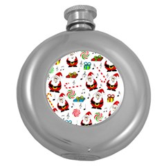 Xmas Song Round Hip Flask (5 Oz) by Valentinaart