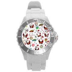 Xmas Song Round Plastic Sport Watch (l) by Valentinaart