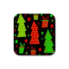 Merry Xmas Rubber Square Coaster (4 Pack)  by Valentinaart