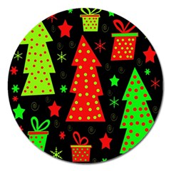Merry Xmas Magnet 5  (round) by Valentinaart