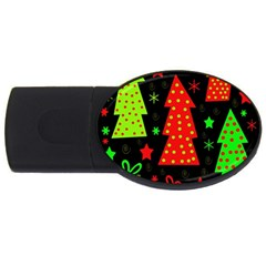 Merry Xmas Usb Flash Drive Oval (2 Gb)  by Valentinaart