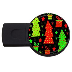 Merry Xmas Usb Flash Drive Round (4 Gb)  by Valentinaart