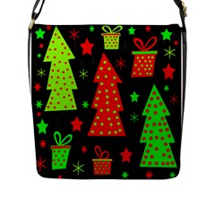 Merry Xmas Flap Messenger Bag (l)  by Valentinaart