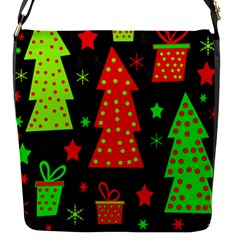 Merry Xmas Flap Messenger Bag (s) by Valentinaart