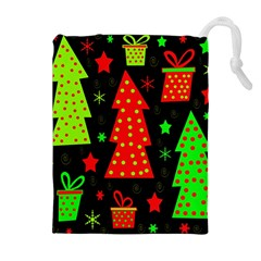 Merry Xmas Drawstring Pouches (extra Large) by Valentinaart