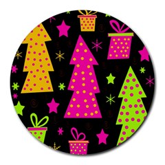 Colorful Xmas Round Mousepads by Valentinaart