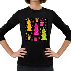 Colorful Xmas Women s Long Sleeve Dark T Shirts by Valentinaart