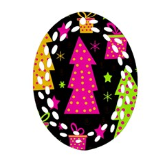 Colorful Xmas Oval Filigree Ornament (2 Side)  by Valentinaart