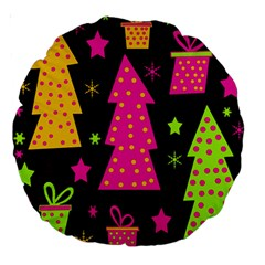 Colorful Xmas Large 18  Premium Round Cushions by Valentinaart