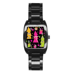 Colorful Xmas Stainless Steel Barrel Watch by Valentinaart