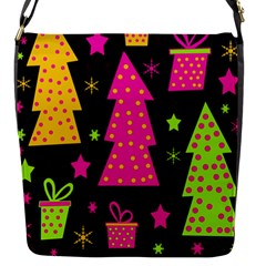 Colorful Xmas Flap Messenger Bag (s) by Valentinaart