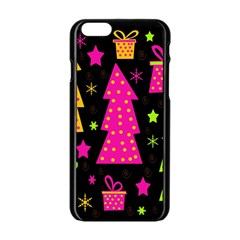 Colorful Xmas Apple Iphone 6/6s Black Enamel Case by Valentinaart