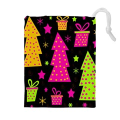 Colorful Xmas Drawstring Pouches (extra Large) by Valentinaart