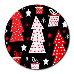Red Playful Xmas Round Mousepads by Valentinaart
