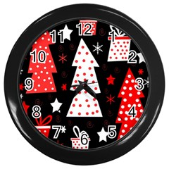 Red Playful Xmas Wall Clocks (black) by Valentinaart