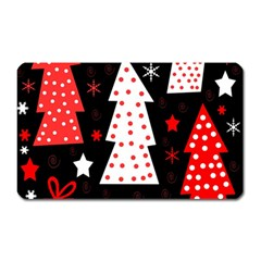 Red Playful Xmas Magnet (rectangular) by Valentinaart