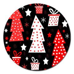Red Playful Xmas Magnet 5  (round) by Valentinaart