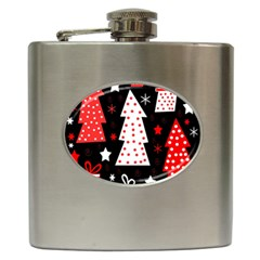Red Playful Xmas Hip Flask (6 Oz) by Valentinaart