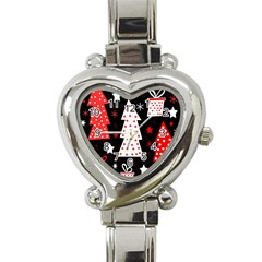 Red Playful Xmas Heart Italian Charm Watch by Valentinaart