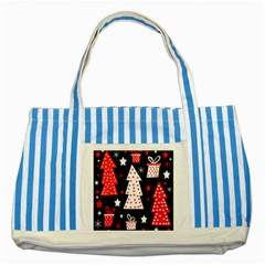 Red Playful Xmas Striped Blue Tote Bag by Valentinaart