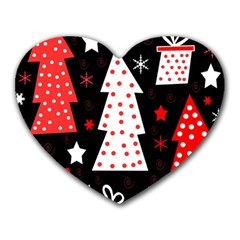 Red Playful Xmas Heart Mousepads by Valentinaart