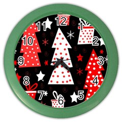 Red Playful Xmas Color Wall Clocks by Valentinaart