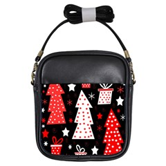 Red Playful Xmas Girls Sling Bags by Valentinaart