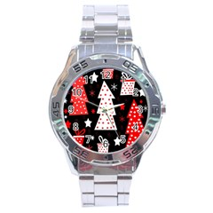 Red Playful Xmas Stainless Steel Analogue Watch by Valentinaart