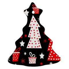 Red Playful Xmas Christmas Tree Ornament (2 Sides) by Valentinaart