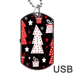 Red Playful Xmas Dog Tag Usb Flash (one Side) by Valentinaart