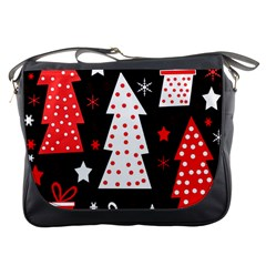 Red Playful Xmas Messenger Bags by Valentinaart