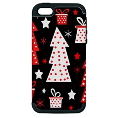Red Playful Xmas Apple Iphone 5 Hardshell Case (pc+silicone) by Valentinaart