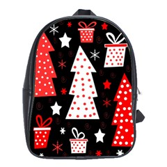 Red Playful Xmas School Bags (xl)  by Valentinaart