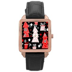 Red Playful Xmas Rose Gold Leather Watch  by Valentinaart