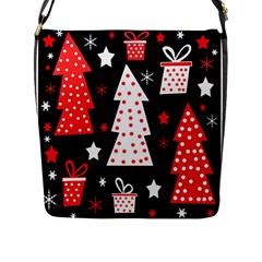 Red Playful Xmas Flap Messenger Bag (l)  by Valentinaart