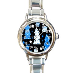 Blue Playful Xmas Round Italian Charm Watch by Valentinaart