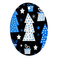 Blue Playful Xmas Ornament (oval)  by Valentinaart
