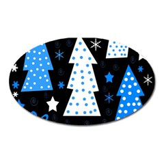 Blue Playful Xmas Oval Magnet by Valentinaart