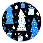 Blue playful Xmas Magnet 5  (Round) Front