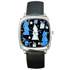 Blue Playful Xmas Square Metal Watch by Valentinaart