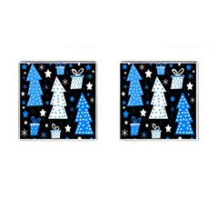 Blue Playful Xmas Cufflinks (square) by Valentinaart