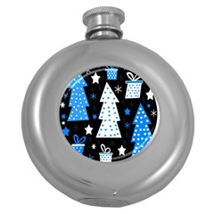 Blue Playful Xmas Round Hip Flask (5 Oz) by Valentinaart