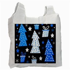Blue Playful Xmas Recycle Bag (two Side)  by Valentinaart
