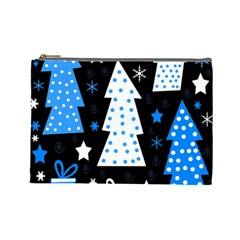 Blue Playful Xmas Cosmetic Bag (large)  by Valentinaart