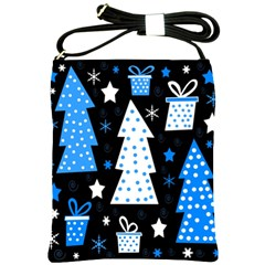 Blue Playful Xmas Shoulder Sling Bags by Valentinaart